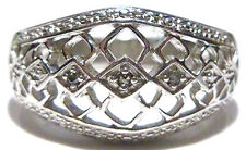 "DESIGNER ""RJ"" STERLING SILVER THREE STONE DIAMOND WOMENS COCKTAIL RING BAND S7.5"