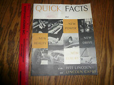 1955 Lincoln Quick Facts Book Lincoln and Capri - Vintage