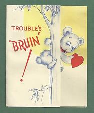 "1940'S VALENTINE CARD LITTLE BEAR IN TREE - TROUBLE'S ""BRUIN"""