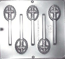 Cross on Oval Lollipop Chocolate Candy Mold 405