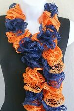 """Ruffle lace soft scarf hand knit ORANGE NAVY BLUE TEAM colors +60"""" long"""