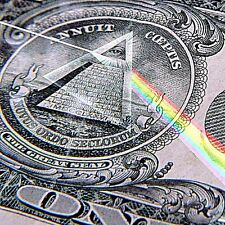 "2.5"" Dollar Bill, sticker/ decal. All seeing eye pyramid, Pink Floyd Rainbow 420"