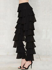Lavish Alice Black Chiffon Tiered Frill Trousers New 6 14 NEW