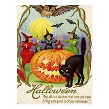 """+PC-Postcard-""""Halloween-""""The Witches Dancing Around Jack O' Latern"""""""