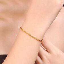 "6.3""L Pure 24K Yellow Gold Bangle Women's & Men Wheat Chain Link Bracelet 2-3g"
