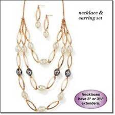 AVON LAYERED PEARLESQUE NECKLACE & EARRING SET - BRAND NEW!