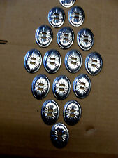 16 Large Oval Silver Plated Conchos Leather Crafts Native American Art Bag Decor