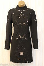 Karen Millen Victorian Black Long Sleeve Floral Cut Work Pencil Fit Dress 10 38