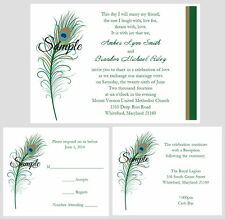 100 Personalized Custom Peacock Feathers Bridal Wedding Invitations Set