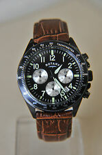 Rotary Gents Brown Leather Strap Black Dial Chronograph Watch GS03908/04~ AA106