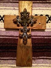 WaLL CRoSS WooDeN ReCLaiMEd WooD WeSTeRn RuSTiC MiSSioN CaST IRoN AcceNT FLueR