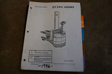BT PPH 1600MX Electric Pallet Jack Owner Operator Operation Parts Manual book