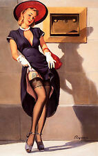 Framed Print - Pin Up Girl Flashing Outside the Bank (Picture Poster Art Tattoo)