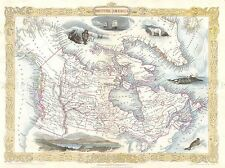 GEOGRAPHY MAP ILLUSTRATED ANTIQUE TALLIS CANADA OREGON POSTER ART PRINT BB4491A
