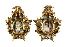 Continental Pair of Hand Painted Miniature Portraits Signed Late 19th Century