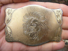 Vtg KING OF THE JUNGLE Belt Buckle ART Engraved GOLD LION LAZY K Brass RARE VG++