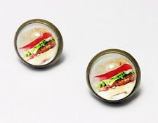 Hamburger Earrings  Beef Burger Snack Junk Food Funny Stud Party Accessories