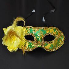 SEXY Máscara VERDE ORO AMARILLO Máscara de pestañas Flores Pétalos Plumas