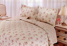 Twin Quilt Set Cottage Shabby Chic Pink Roses Abbey Cotton