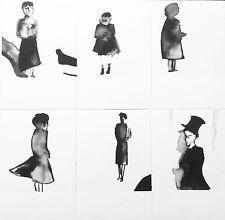Postkarten Set 6 Karten STEHENDE FIGUREN Illustration Zeichnung A6 schwarz-weiß