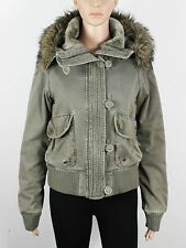 TopShop womens Size 8 khaki green padded short crop jacket