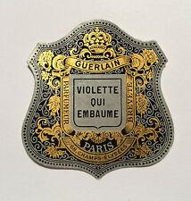 """GUERLAIN """"VIOLETTE QUI EMBAUME"""" ETIQUETTE PAPIER PARFUM VINTAGE LABEL PERFUME"""