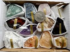 Box 12 Ass Labelled Minerals Rock Specimens Jasper Black Obsidian Amethyst Etc
