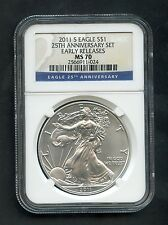 2011-S Silver Eagle S$1 25th Anniversary Set Early Releases NGC MS70 $1 RARE