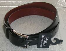 POLO RALPH LAUREN LEATHER BELT - ITALIAN LEATHER BLACK  - FREE SHIPPING