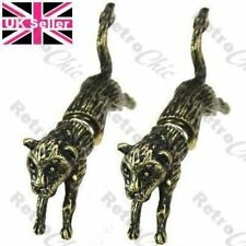 LEOPARD big cat FAKE EAR TUNNEL STUD EARRINGS antique vintage brass TUNNELS