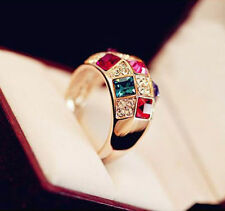 Classic Elegant Women Colourful Rhinestone Crystal Finger Dazzling Ring Jewelry