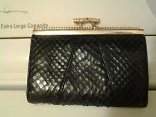 Judith Leiber Black Snake Skin Coin purse kiss lock VINTAGE
