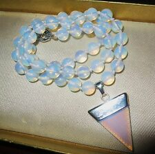 Lovely knotted 8mm moonstone opaque glass beaded necklace with pendant