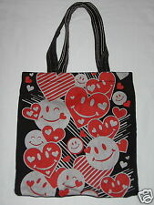 Black Tote Bag with Hearts and Happy Faces
