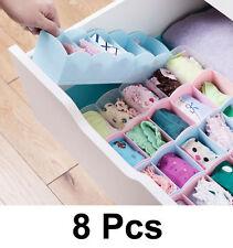 8 Pcs Undergarments Innerwear Drawer Wardrobe Organiser Partition Box.