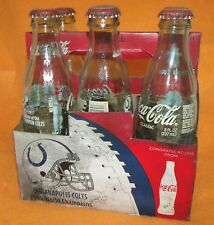 COCA COLA--5 PACK--INDIANAPOLIS COLTS COLLECTOR BOTTLES--EMPTY--SMOKE DAMAGE!