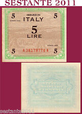 ITALIA ITALY  5 AM LIRE 1943 FLC, ALLIED MILITARY CURRENCY,  P M12a   FDS / UNC