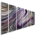 Modern Abstract Purple/Silver Painting Metal Wall Art Decor