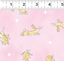 Fat Quarter Guess How Much I Love You Rabbit Toss Pink Cotton Quilting Fabric