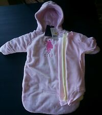 4pc US POLO ASSN SNOW SUIT COAT WINTER 0-9M PINK BABY  3 Onesies boys girls NWT