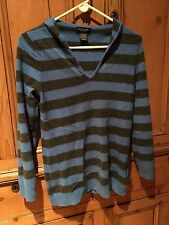 REDUCED***Lord & Taylor 100% Cashmere Hoodie Blue Gray Striped M FABULOUS!