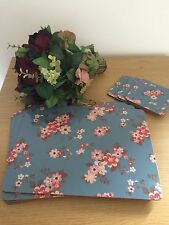 Set 8 Shabby Chic Vintage Table Place Mats & Coasters Katie Ditsy Floral Blue