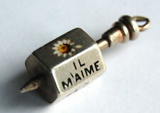 ANTIQUE French Silver Sweetheart Enamel Loves Me Loves Me Not Spinner Charm