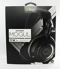 iFrogz EarPollution Mogul Foldable Pro DJ Style 50mm Driver Headphones Black NEW