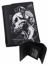 DEADPHONES Mens Black Faux Leather Wallet / Gifts for Men / Gothic / Tribal /