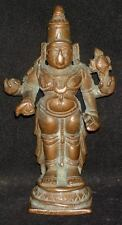 "Antique Hindu Traditional Indian Ritual Bronze Statue Of God ""Vishnu"" Rare"