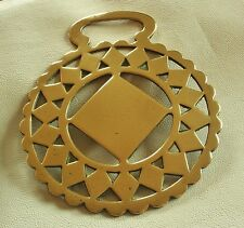 ANTIQUE STAMPED HORSE BRASS - A LARGE DIAMOND SURROUNDED BY DIAMONDS