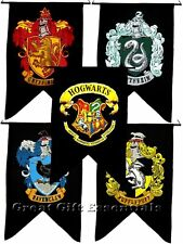 Harry Potter 5 Banner Set Gryffindor Ravenclaw Hufflepuff Slytherin Hogwarts NEW