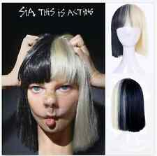 Short Straight Cosplay sia Wig Black Blonde Mix Heat Resistant Hair Women's Wigs