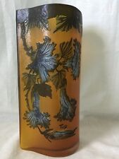 Emile Galle Cameo Glass Vase Etched Amber Blue Flowers Art Nouveau signed 9.5in